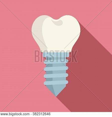 Medical Tooth Implant Icon. Flat Illustration Of Medical Tooth Implant Vector Icon For Web Design