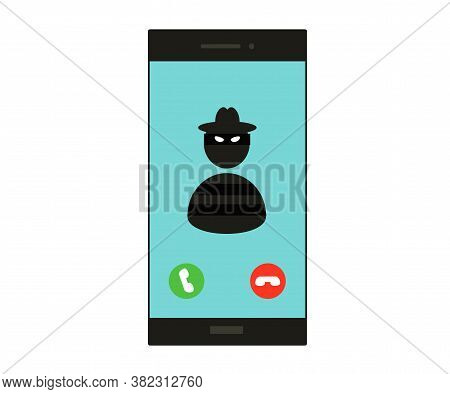Phone And Crook On The Screen. Symbol. Vector Illustration.