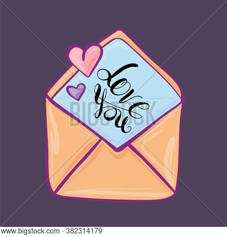 Envelope In Which A Declaration Of Love, Cartoon Style, Flat Vector. Valentine Day.