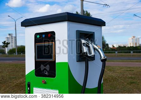 Electric Vehicle Charging Station With Power Plug For Electric Vehicles. Nfc Payment. Smart Energy.