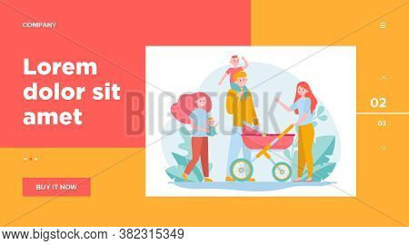 Happy Big Family Walking Together. Mother, Kid, Father Flat Vector Illustration. Parenthood And Rela
