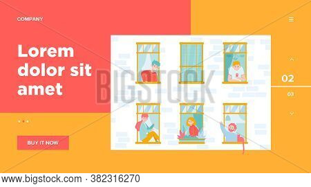 Apartment Open Windows And Neighbors. Leisure, Routine, Wall Flat Vector Illustration. Lifestyle And
