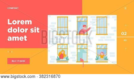 Daily Life In Open Windows. Neighbor, Building, Home Flat Vector Illustration. Lifestyle And Neighbo