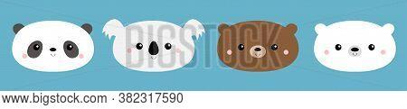 Bear Face Set. Cute Koala, Grizzly, Panda, Polar Cub. Funny Head. Kawaii Cartoon Character. Happy Va
