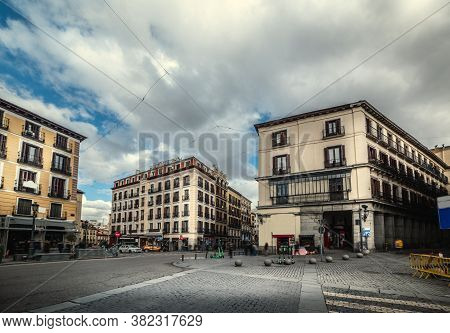 Clouds Over Calle Mayor In Downtown Madrid, Spain