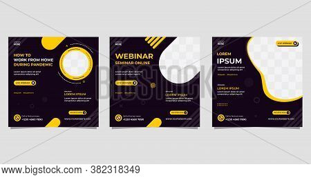 Social Media Post Template, Working From Home During Pandemic. Set Of Webinar Vector Graphics, Black