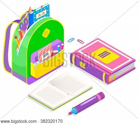 Colorful Backpack Full Of School Supplies Isolated On White. Textbook, Felt-tip Pen, Paper Clips, Co