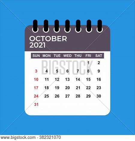 October 2021 Calendar. Calendar October 2021. October 2021 Calendar Vector Illustration. Wall Desk C