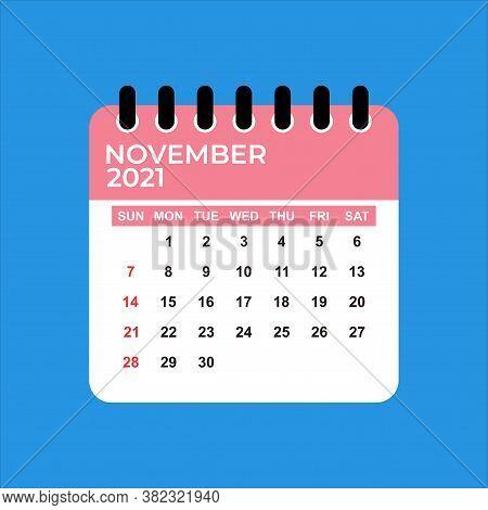November 2021 Calendar. Calendar November 2021. November 2021 Calendar Vector Illustration. Wall Des