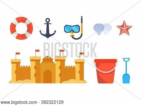 Sandcastle With Beach Toys Pail And Shovel. Isolated On White Background. Vector Illustration