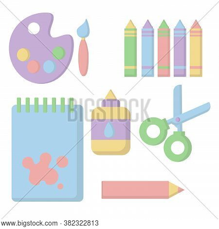 Materials For Kid's Creativity In Flat Style. Paints And A Brush, Scissors, Notebook, Pencil, Glue,