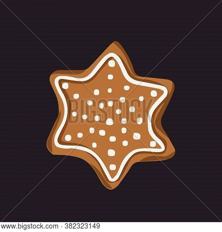 Star-shaped Gingerbread Cookie With White Icings Ornament. Vector Isolated