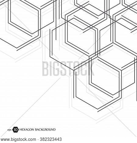Abstract Molecule Background. Hexagonal Chemistry Pattern. Molecular Scientific Research. Compositio