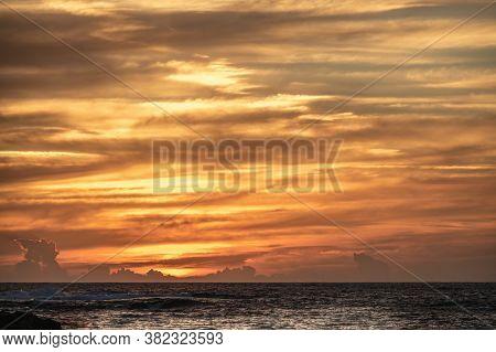 Colorful Sky Over Porto Ferro Beach At Sunset. Sardinia, Italy