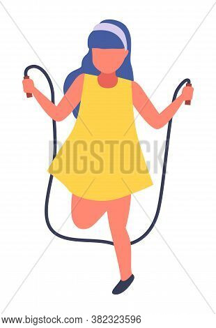 Girl Jumping Rope Illustration. Cute Little Girl In Yellow Dress Playing On White, Children S Outdoo