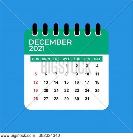 December 2021 Calendar. Calendar December 2021. December 2021 Calendar Vector Illustration. Wall Des