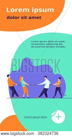 People Pulling Opposite Ends Of Rope Flat Vector Illustration. Tug Of War Contest Between Office Wor