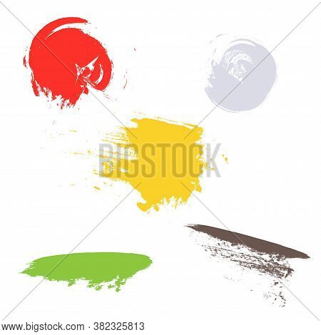 Smears Paint Grunge Set. Yellow Red Green Grey Design Element Stock Vector Illustration For Web, For
