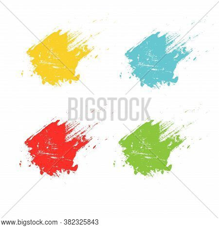 Smears Paint Grunge Set. Yellow Red Green Blue Design Element Stock Vector Illustration For Web, For