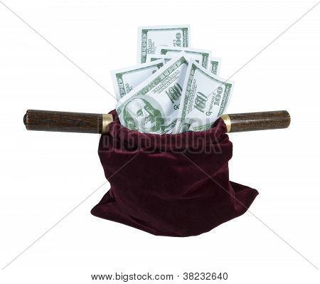 Velvet Offering Bag Full Of Money
