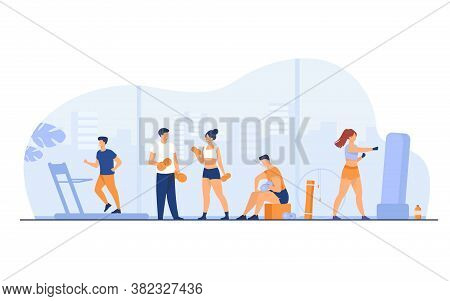 Athletes Doing Fitness Exercise In Gym With Panoramic Windows Isolated Flat Vector Illustration. Car