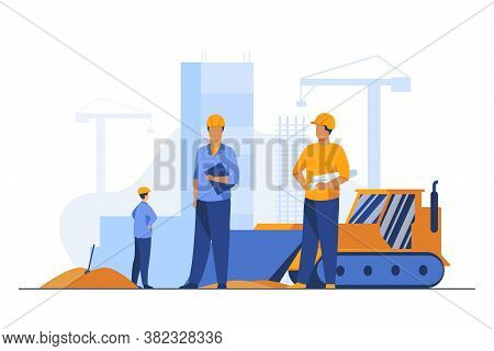 Builders In Helmets Working At Construction Site. Machine, Building, Worker Flat Vector Illustration