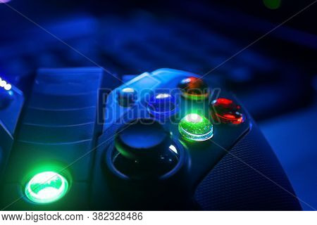 Close Up Of Game Controller Buttons With Rgb Lighting
