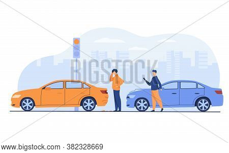 Two Men Having Car Accident Isolated Flat Vector Illustration. Cartoon People Looking At Automobile