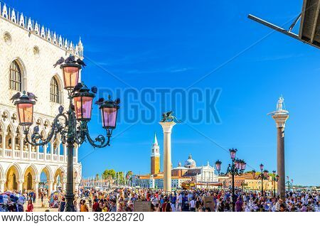 Venice, Italy, September 13, 2019: People Walking Down Piazza San Marco St Marks Square With Street