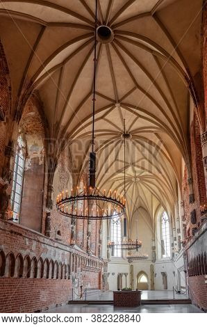 Malbork, Poland - July 25, 2019: Interior of the historic St. Mary's church in medieval castle in Malbork, Poland. World Heritage List UNESCO.