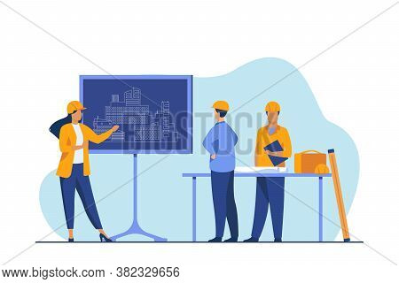Female Engineer Standing Near Chalkboard Explaining Project. Draft, Building, Worker Flat Vector Ill