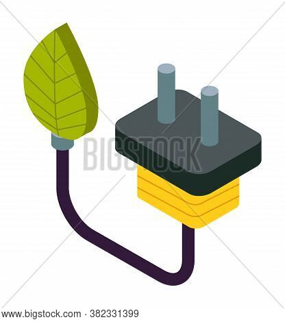 Natural Green Eco Energy Icon With Electric Plug And Leaf Symbol. Green Technology Ecosystem Vector