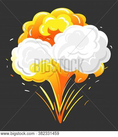 Big Explosion With Orange And Grey Clouds Of Fire And Dust. Isolated Bang In Motion, Bright And Radi