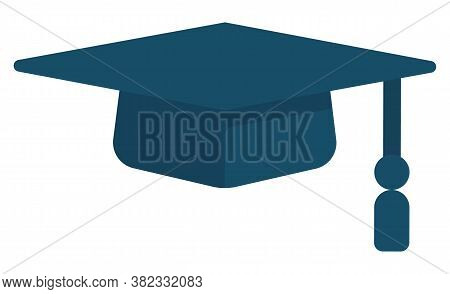 Square Academical Or Graduate Cap. Item Of Academic Dress Consisting Of Horizontal Square Board With