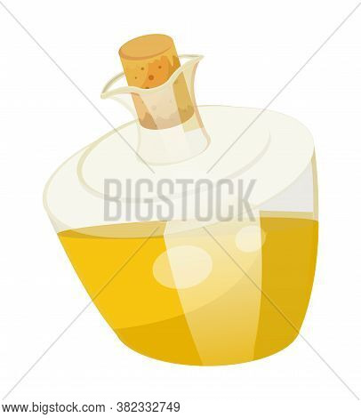 Oil Bottle Closed With Bung With Golden Liquid Inside. Olive Or Sunflower Oil Boottle. Vessel With V