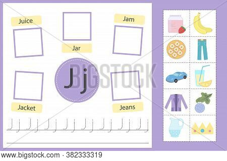 Alphabet Tracing Worksheet For Preschool And Kindergarten. Writing Practice Letter J. Exercises With