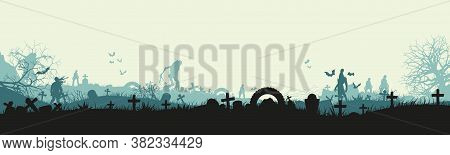 Halloween Holiday. Silhouette Of A Zombie In A Cemetery. Landscape With Dead People, Monsters And Cr