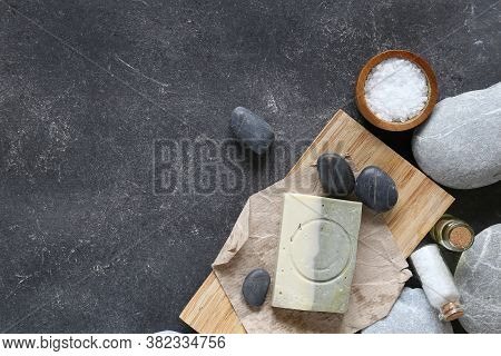 Composition Of Spa Treatment On Dark Table Top View