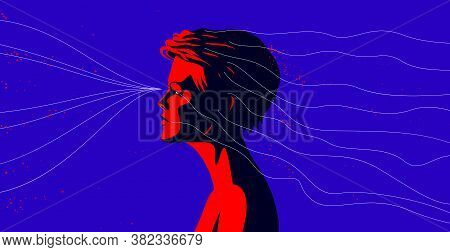 Woman Profile With Abstract Fluid Lines In Motion From His Head Vector Illustration, Mindfulness Phi