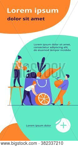 People Keeping Healthy Diet. Man And Woman Packing Paper Bag With Fresh Fruit And Vegetables. Vector