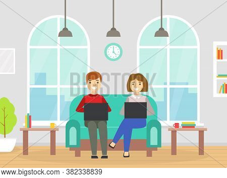 Coworking Space With People Sitting Of Sofa With Laptop Computers, Business Team Working Together In