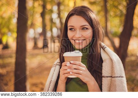 Photo Of Charming Lovely Dreamy Lady Stay Hold Cup Drink Coffee Beaming Smiling Wrapped Coverlet Aut