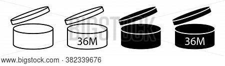 Pao Cosmetics Open Symbol 36m Set Vector Icons Isolated On White Background. Expiration Period Month