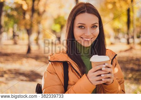 Energy Pause. Photo Of Charming Cute Lady Smiling Hold Cup Drink Visit Coffee Shop Make Break Betwee
