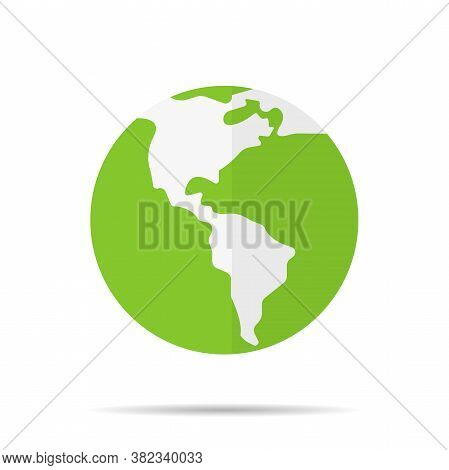 Planet Earth Green Vector Icon. Ecology World Symbol. Eco Flat World Icon For Graphic Design Project