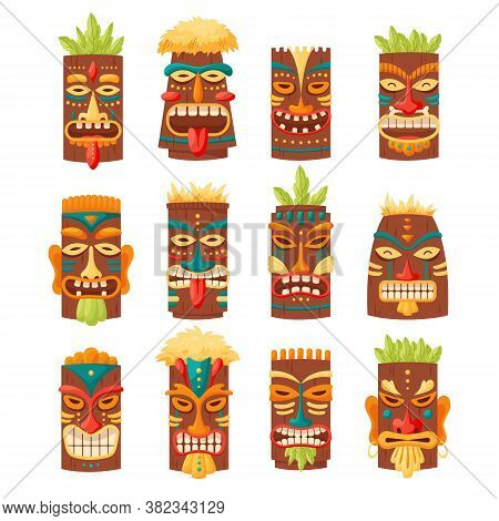 Tiki Mask Tribal Set. Hawaiian Totem Or African Maya Aztec Wooden Idol Isolated On White Background.