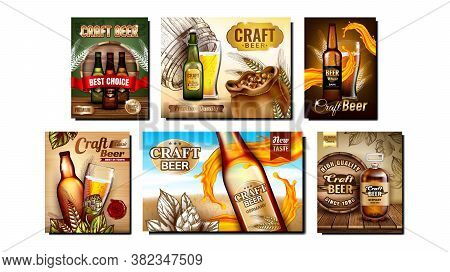 Beer Alcoholic Drink Promo Posters Set Vector. Beer Blank Bottles And Wooden Barrel, Glass With Foam