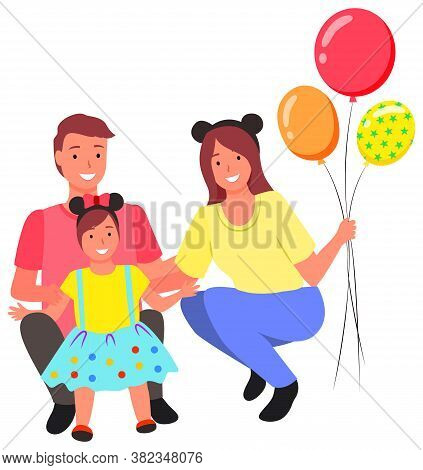 Family Taking Photo Together Vector, Mom And Daddy Posing With Daughter. Mother Holding Inflatable B