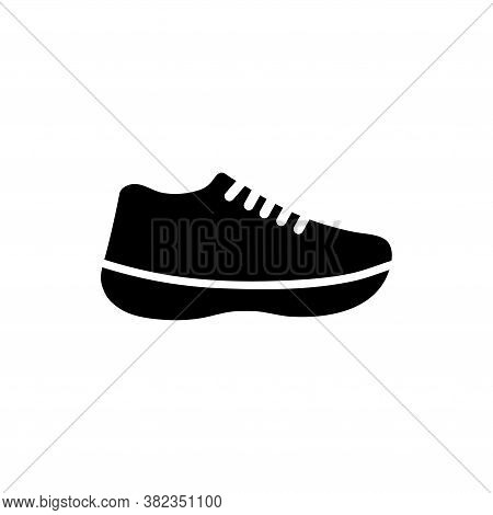 Running Sports Shoe, Fitness Sneakers. Flat Vector Icon Illustration. Simple Black Symbol On White B