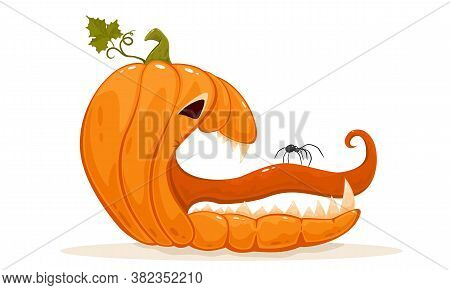Spider On The Tongue Of A Scary Pumpkin. Jack O' Lantern Isolated On White Background. Halloween The